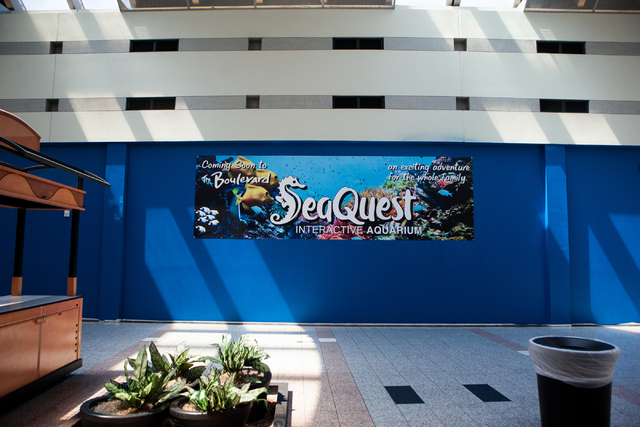 A banner for the Sea Quest Aquarium is seen inside the Boulevard Mall in Las Vegas, Monday, Aug. 29, 2016. The Sea Quest Aquarium is slated to open in late November. (Miranda Alam/Las Vegas Review ...