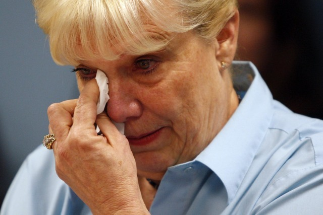 Peggy DiMaria, sister of slain Manson victim Jay Sebring, speaks during a parole hearing for Manson follower Susan Atkins Wednesday, Sept. 2, 2009, at the Central California Women's Facility in Ch ...
