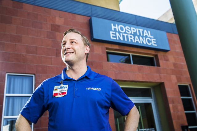 Skip Galla, a registered nurse and artistic director of Sin City Opera, prepares for another day in infection prevention at University Medical Center. (Benjamin Hager/Las Vegas Review-Journal)