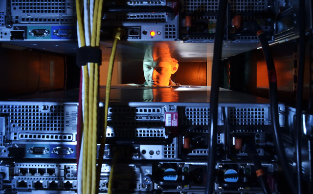 Joseph Ristine, information technology technician at House Advantage, is shown in the company server room at 10100 W. Charleston Blvd. on Monday, Aug. 1, 2016. Bill Hughes/Las Vegas Review-Journal