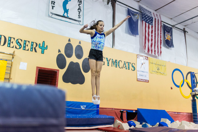 National Trampoline Champion McKenzie Baliff, 13, does her trampoline routine during practice at Desert Gymcats in Las Vegas June 30. Elizabeth Brumley/View Follow @elipagephoto on Twitter