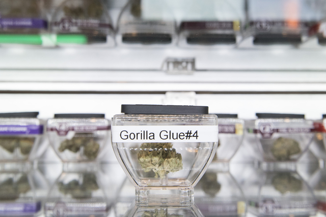 "Marijuana samples are displayed at Las Vegas ReLeaf during a walking tour of various medical marijuana dispensaries in Las Vegas' ""Green District"" Wednesday, April 20, 2016. The  ..."