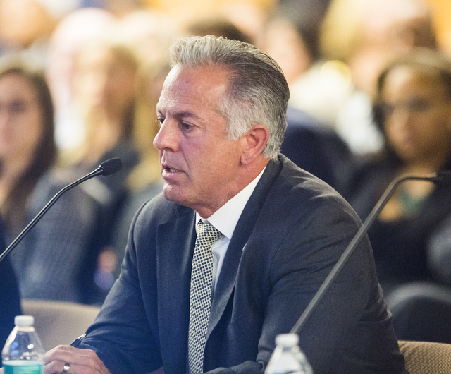 Sheriff Joseph Lombardo addresses the Southern Nevada Tourism Infrastructure Committee meeting to provide funding for more police on the Las Vegas Strip Thursday, Aug. 25, 2016, at the Stan Fulton ...