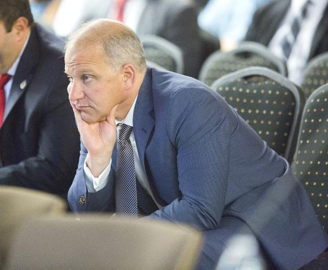 Marc Badain, Oakland Raiders president, listens during the Southern Nevada Tourism Infrastructure Committee meeting on Thursday, Aug. 25, 2016.Jeff Scheid/Las Vegas Review-Journal Follow @jeffscheid