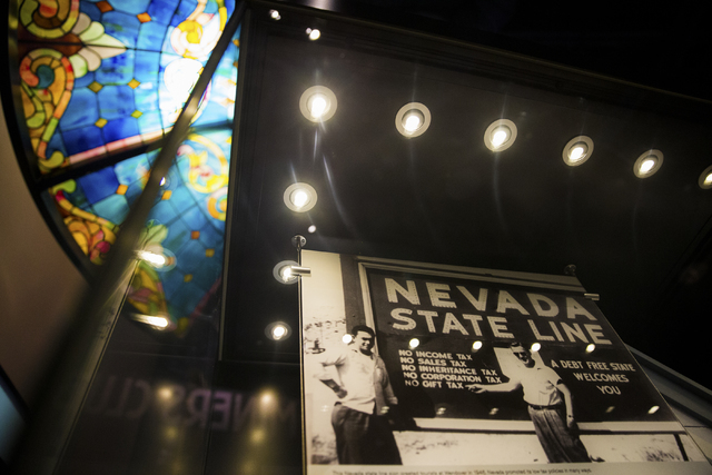 Nevada touts its claims to  fame -- including no state income tax -- in a historical photo featured at the Nevada State Museum, Las Vegas. (Benjamin Hager/Las Vegas Review-Journal)