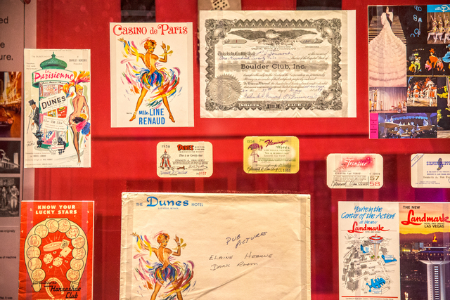 Programs, letterheads and showbills from the Dunes and other 1950s casinos live on at the Nevada State Museum, Las Vegas. (Benjamin Hager/Las Vegas Review-Journal)