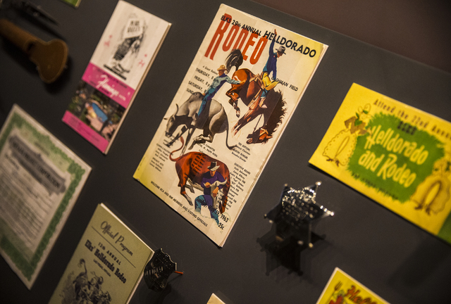 Historical rodeo flyers and memorabilia from Las Vegas' annual Helldorado celebration form one exhibit at the Nevada State Museum, Las Vegas. (Benjamin Hager/Las Vegas Review-Journal)