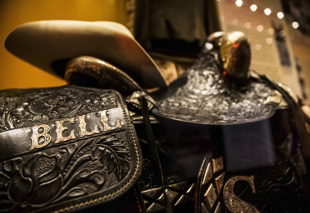 A saddle, hat and riding gear of popular movie cowboy (and Nevada lieutenant governor) Rex Bell, on display at the Nevada State Museum, Las Vegas. (Benjamin Hager/Las Vegas Review-Journal)