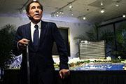 Casino mogul Steve Wynn rests against a site model during a news conference regarding the $1.7 billion Wynn Boston Harbor in Medford, Massachusetts, Tuesday, March 15, 2016.  (Charles Krupa/AP)