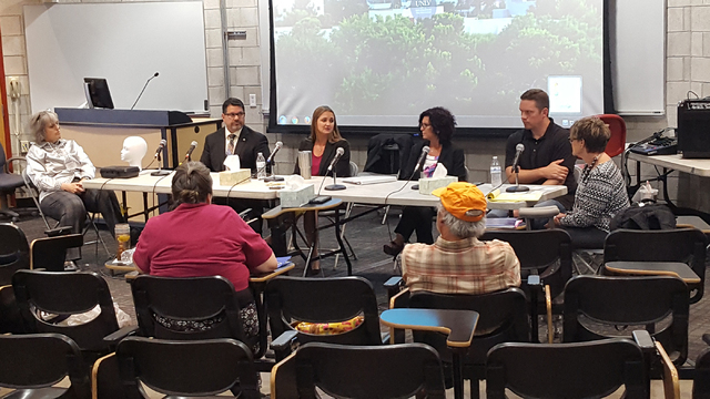 A roundtable of speakers are shown July 17 during a Strangulation Seminar hosted by the Academy for Career Enhancement at UNLV. Special to View