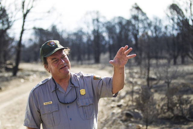 Tod Williams, chief of resources and planning at Great Basin National Park, talks about the Strawberry Fire on Thursday, Aug. 25, 2016. Chase Stevens/Las Vegas Review-Journal Follow @csstevensphoto