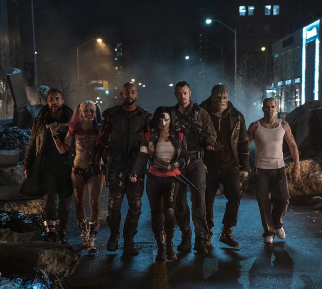 Jai Courtney as Boomerang, left, Margot Robbie as Harley Quinn, Will Smith as Deadshot, Karen Fukuhara as Katana, Joel Kinnaman as Rick Flagg, Adewale Akinnuoye-Agbaje as Killer Croc and Jay Herna ...