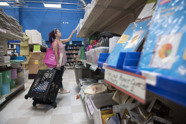 Third-grade Fong Elementary teacher Tiffanie Petersen shops for school supplies at the Teacher Exchange, 4350 S. Maryland Parkway, in Las Vegas July 20. Martin S. Fuentes/View