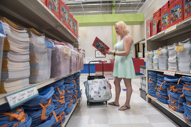First-grade MJ Christensen Elementary teacher Ashley Baker shops for school supplies at the Teacher Exchange, 4350 S. Maryland Parkway, July 20. Martin S. Fuentes/View