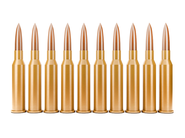 High detailed 3D render of Bullets in row on white background