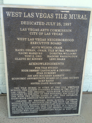 This undated photo shows a plaque honoring the dedication of the West Las Vegas tile mural. (Courtesy City of Last Vegas)