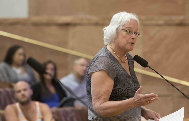 Clark County School District Trustee Carolyn Edwards speaks about the proposal to reorganize the Clark County School District during a town hall meeting at the Clark County Government Center in do ...