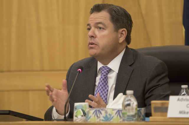 State Sen. Michael Roberson discusses the proposal to reorganize the Clark County School District during a town hall meeting at the Clark County Government Center in downtown Las Vegas on Tuesday, ...