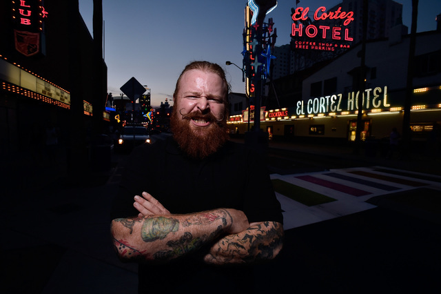 Las Vegas artist Joshua Monroe poses on Fremont Street in downtown Las Vegas Friday, Aug. 19, 2016. Monroe, known by the name Ginger, created the statues of Donald Trump that were placed in major  ...