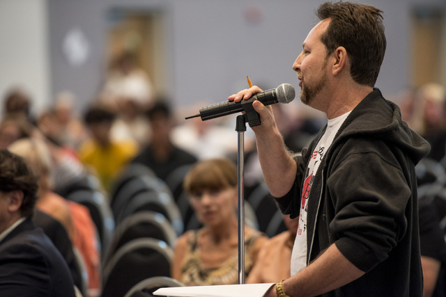 Chet Miller, a teacher, speaks during a Clark County School District public hearing at the Northwest Career & Technical Academy in Las Vegas on Wednesday, August 3, 2016. Joshua Dahl/Las Vegas ...