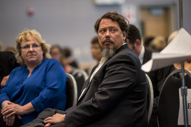 Clark County School Districk superintendent Pat Skorkowsky is seen during a Clark County School District public hearing at the Northwest Career & Technical Academy in Las Vegas on Wednesday, A ...