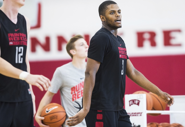 UNLV junior forward Tyrell Green warms up before practice at the Mendenhall Center at UNLV on Monday, August 1, 2016, in Las Vegas. (Benjamin Hager/Las Vegas Review-Journal)