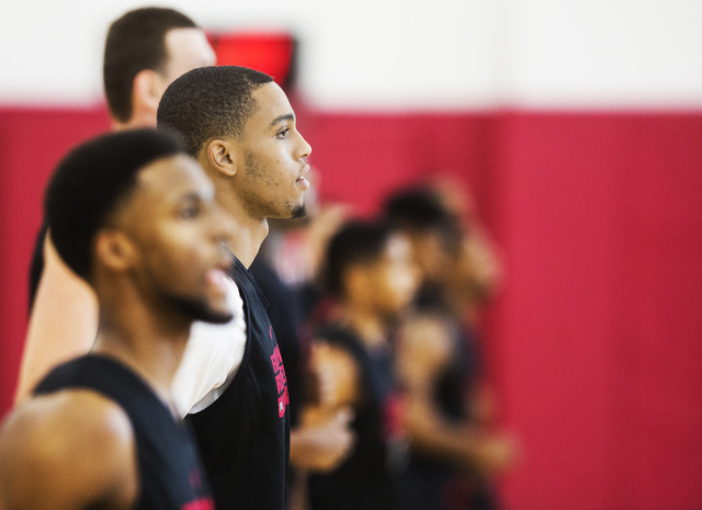 UNLV sophomore guard Jalen Poyser runs lines before practice at the Mendenhall Center at UNLV on Monday, August 1, 2016, in Las Vegas. (Benjamin Hager/Las Vegas Review-Journal)