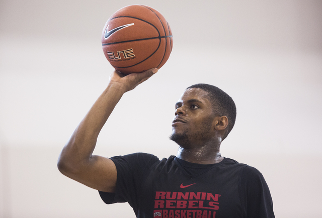UNLV junior forward Tyrell Green does a shooting drill before practice at the Mendenhall Center at UNLV on Monday, August 1, 2016, in Las Vegas. (Benjamin Hager/Las Vegas Review-Journal)