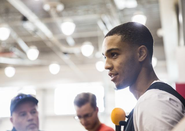 UNLV sophomore guard Jalen Poyser speaks with the media at the Mendenhall Center at UNLV on Monday, August 1, 2016, in Las Vegas. (Benjamin Hager/Las Vegas Review-Journal)