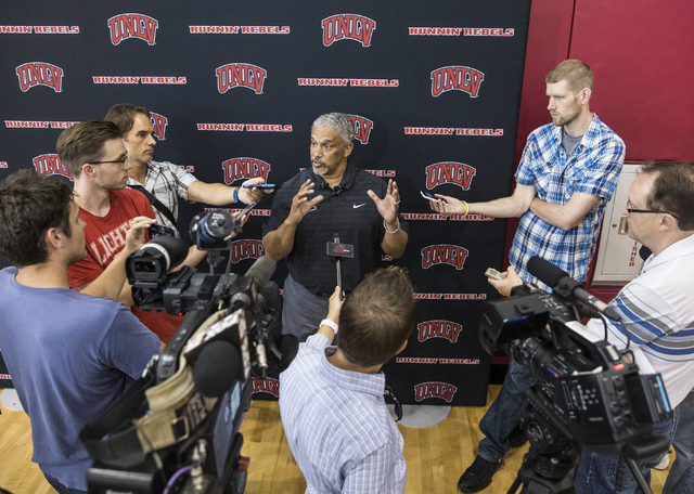 UNLV head coach Marvin Menzies addresses the media at the Mendenhall Center at UNLV on Monday, August 1, 2016, in Las Vegas. (Benjamin Hager/Las Vegas Review-Journal)
