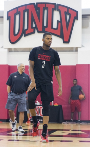 UNLV junior forward Tyrell Green stretches before practice at the Mendenhall Center at UNLV on Monday, August 1, 2016, in Las Vegas. (Benjamin Hager/Las Vegas Review-Journal)