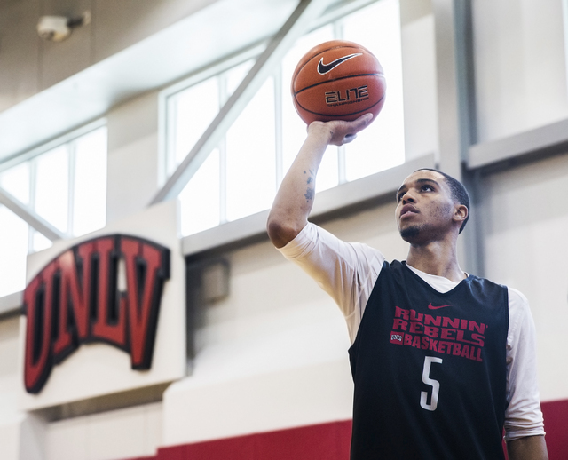 UNLV sophomore guard Jalen Poyser does a shooting drill before practice at the Mendenhall Center at UNLV on Monday, August 1, 2016, in Las Vegas. (Benjamin Hager/Las Vegas Review-Journal)