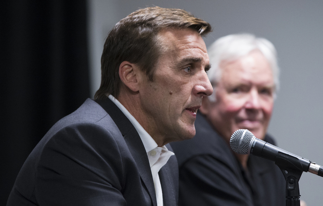 George McPhee, the new general manager of Las Vegas' NHL expansion team, answers questions at a press conference at T-Mobile Arena on Wednesday, July 13, 2016, in Las Vegas. (Benjamin Hager/Las  ...