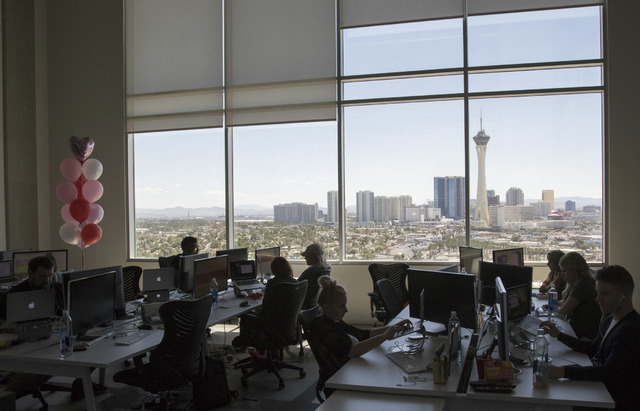 Influential employees work in a Soho Lofts penthouse in downtown Las Vegas on Monday, Aug. 15, 2016. Richard Brian/Las Vegas Review-Journal Follow @vegasphotograph
