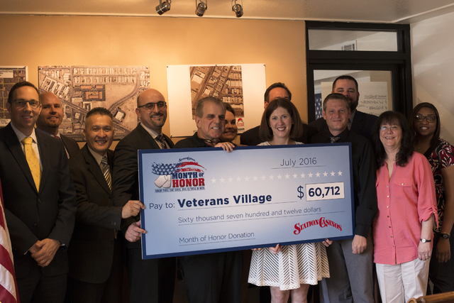 Station Casinos presented a check for $60,712 to Veterans Village to help support homeless veterans who live at the downtown housing on July 27, 2016. Special to View