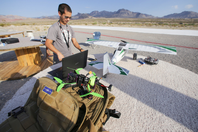 Daryl Tingley, 28, prepares to fly a quadcopter at the Las Vegas Soaring Club off state Route 159 in Calico Basin July 28. The club plans to celebrate 80 years of safe operations on National Model ...