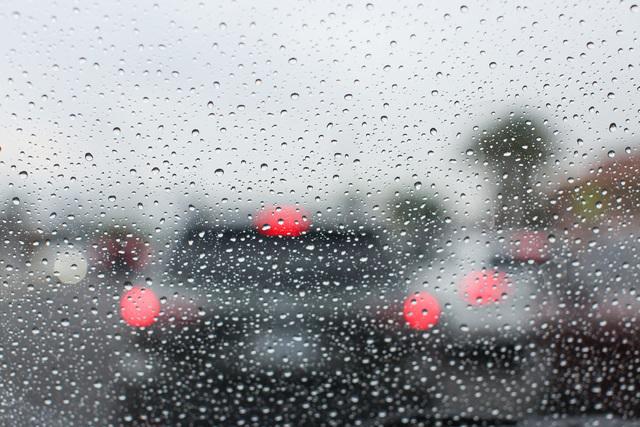 Raindrops gather on a windshield in Las Vegas on Thursday, Aug. 4, 2016. Brett Le Blanc/Las Vegas Review-Journal Follow @bleblancphoto