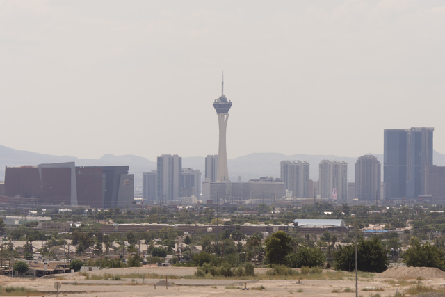 The Las Vegas skyline is seen from Cheyenne Avenue and Clayton Street in North Las Vegas Saturday, Aug. 20, 2016. Jason Ogulnik/Las Vegas Review-Journal