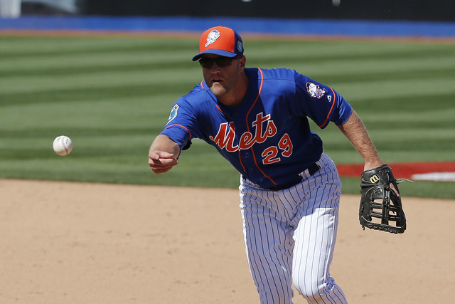 Eric Campbell of the Las Vegas 51s is shown playing for the New York Mets in an exhibition game on April 1, 2016, in Las Vegas. (AP Photo/John Locher)