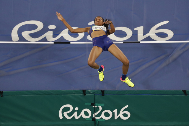 United States' Vashti Cunningham competes in the high jump finals during the athletics competitions of the 2016 Summer Olympics at the Olympic stadium in Rio de Janeiro, Brazil, Saturday, Aug. 20, ...