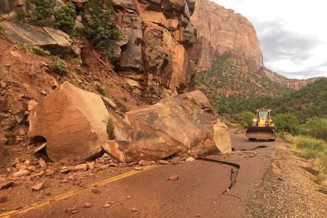 "A ""house-size"" boulder fell on the road near Zion National Park on Wednesday. (National Park Service)"