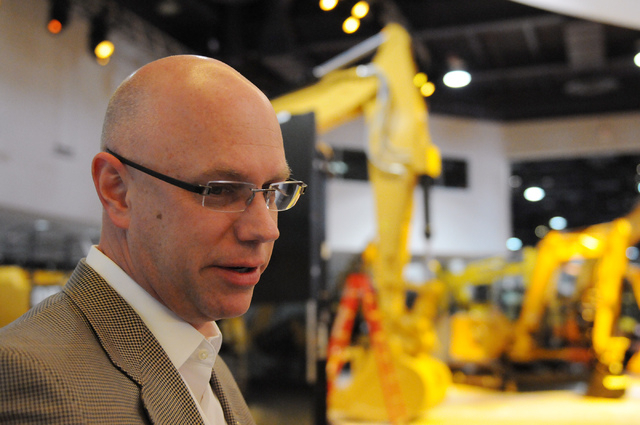 Steve Moster, president at Global Experience Specialists, is interviewed inside the CONEXPO-CON/AGG showroom at the Las Vegas Convention Center Thursday, Feb. 27, 2014. (Erik Verduzco/Las Vegas Re ...