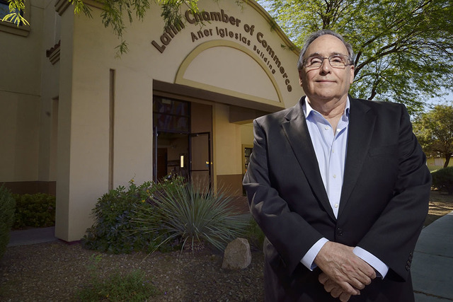 Otto Merida, who founded the Latin Chamber of Commerce, is shown at the chamber offices at 300 N. 13th St. in Las Vegas on Monday, April 6, 2015. (Bill Hughes/Las Vegas Review-Journal)