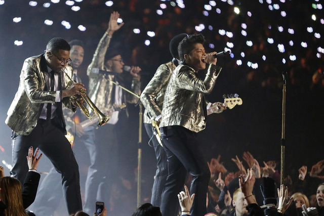 Bruno Mars performs during the Halftime Show of Super Bowl XLVIII on Sunday, Feb. 2, 2014, in East Rutherford, N.J. (Julio Cortez/AP)