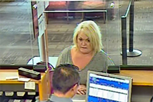 Heidi DeVaney is shown in this screengrab from a bank surveillance video. (College of Southern Nevada Police Department)