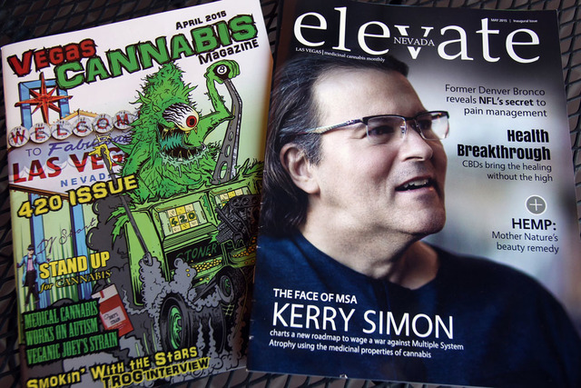 Vegas Cannabis Magazine, left, and Elevate magazine are shown Tuesday, April 21, 2015. Elevate, a new monthly magazine, hopes to help remove the stigma and make people take medical marijuana more  ...