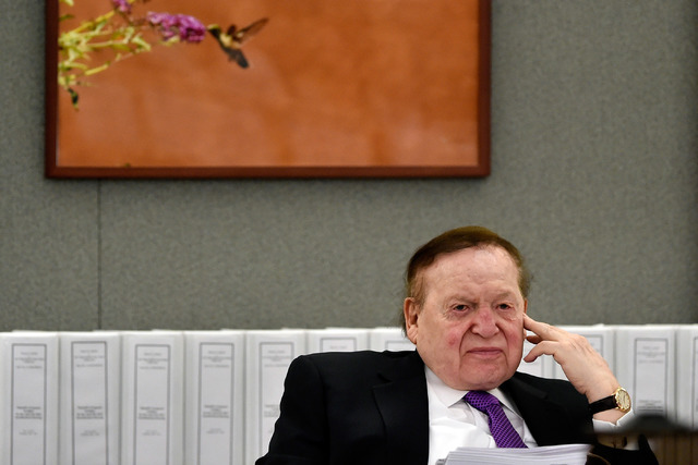 Las Vegas Sands Corp. Chairman and CEO Sheldon Adelson testifies in court on Friday, May 1, 2015, in Las Vegas. (David Becker/Las Vegas Review-Journal) (David Becker/Las Vegas Review-Journal)