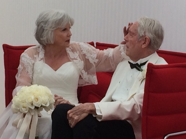 Jane Holkestad caresses Don, her husband of 64 years June 15, 2016, after renewing their wedding renewal vows at the Cleveland Clinic Lou Ruvo Center for Brain Health, where he is a patient for hi ...
