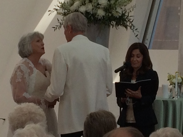 Don and Jane Holkestad renew their vows before Linda Venniro, officiant, June 15, 2016, at the Keep Memory Alive Event Center on the Lou Ruvo campus. The couple, who volunteer for the center, were ...