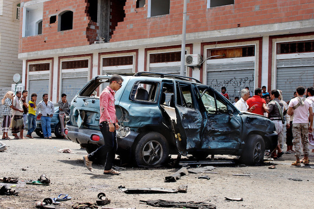 Monday's deadly suicide car bombing was not the first in Aden, Yemen. In May, dozens dies in a similar attack. (AP)